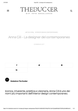 Anna Gili Press Theducker Magazine - La designer del contemporaneo 2019