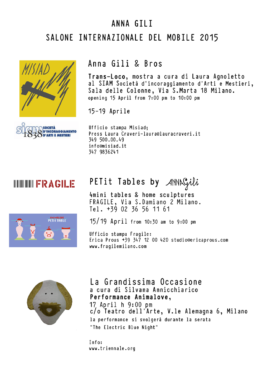 Anna Gili Press Salone internazione del mobile 2015
